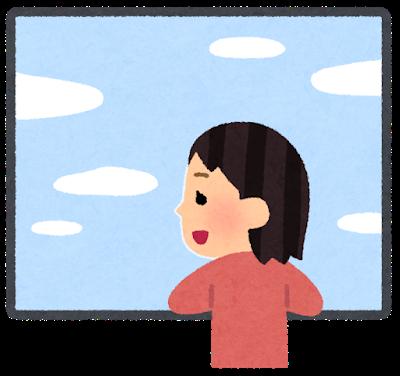 窓と女の子(青空)